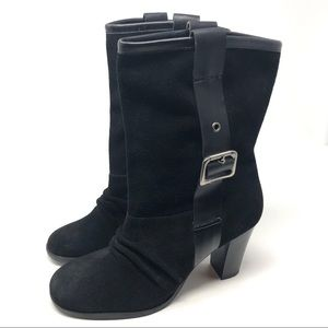 Nine West Black Suede Buckle Slouch Boots